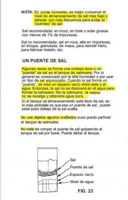 PUENTE DE SAL EN EL ABLANDADOR DE AGUA.